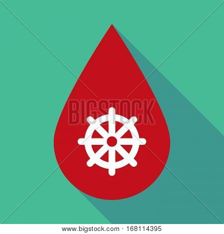 Long Shadow Blood Drop With A Dharma Chakra Sign