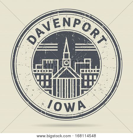 Grunge rubber stamp or label with text Davenport Iowa written inside vector illustration