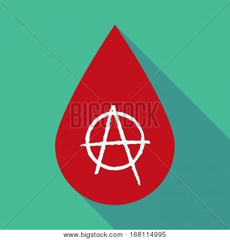 Long Shadow Blood Drop With An Anarchy Sign