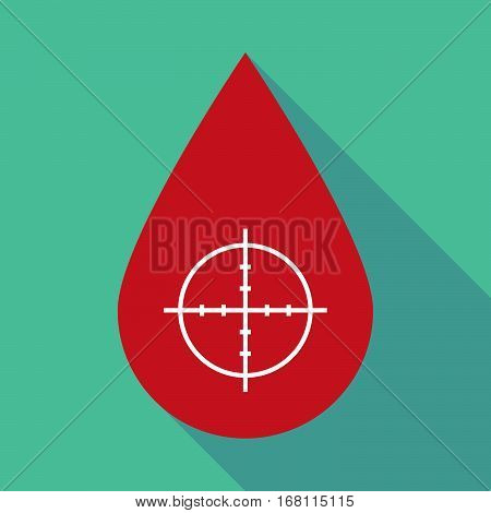 Long Shadow Blood Drop With A Crosshair