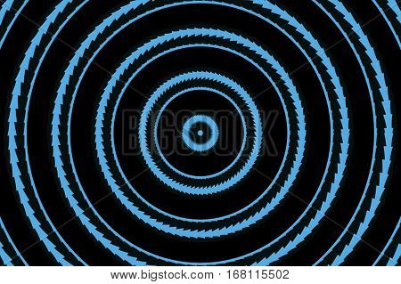 Illustration of abstract cyan and black concentric circles