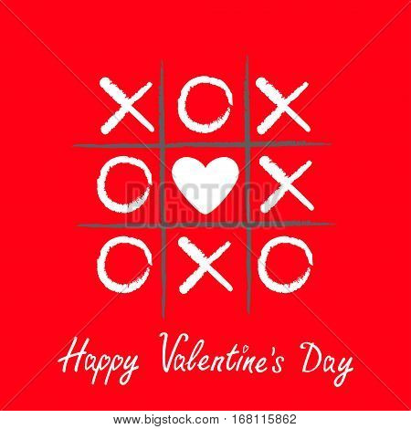 Tic tac toe game with criss cross and white heart sign mark XOXO. Hand drawn brush. Doodle line. Happy Valentines day card Flat design Isolated. Red background. Vector illustration