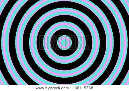 Illustration of abstract pink and cyan concentric circles