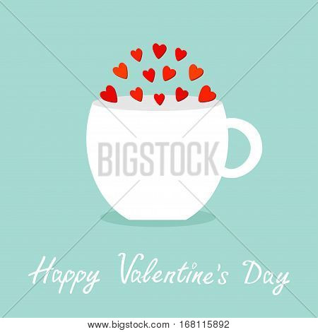 Teacup mug Tee coffee cup with red heart set. Happy Valentines Day. Love greeting card. Flat design. Cute food decoration. Blue background. Isolated. Vector illustration.