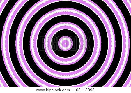 Illustration of abstract pink and white concentric circles