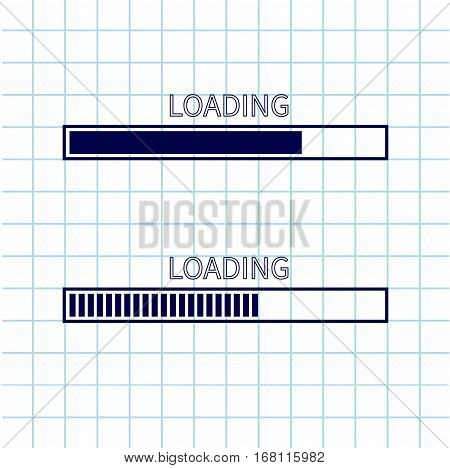 Loading progress status bar icon set. Web design app download timer. Notebook paper texture cell Squared blank sheet of copybook white background. Flat trendy element. Vector illustration
