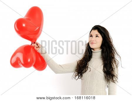 pretty girl with red balloons