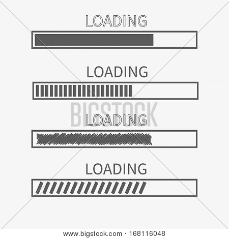 Loading progress status bar icon set. Web design app download timer. White background. Gray color. Flat trendy scribble element. Isolated. Vector illustration