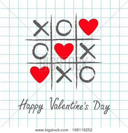 Tic tac toe game with criss cross and three red heart sign mark XOXO. Hand drawn pen brush. Doodle line. Happy Valentines day card Flat design. Exercise book background. Paper sheet. Vector