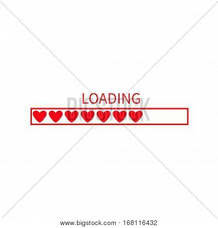 Progress loading status bar icon. Love collection. Red heart. Funny happy valentines day element.Web design app download timer. White background. Flat trendy object. Isolated. Vector illustration