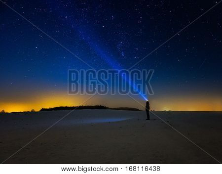 Night Landscape With Sky Observer.