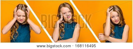 The face of sad teen girl with long hair on orange studio background. Collage