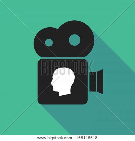 Long Shadow Cinema Camera With A Male Head