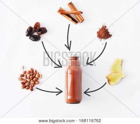 Detox healthy drink concept, chocolate smoothie ingredients. Natural, organic juice in bottle for weight loss diet or fasting day. Cocoa powder, ginger, date fruit and cinnamon mix isolated on white