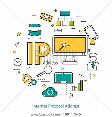Vector thin line art round concept of IP address. Banner for web infographic or techology innovation. Internet commucation