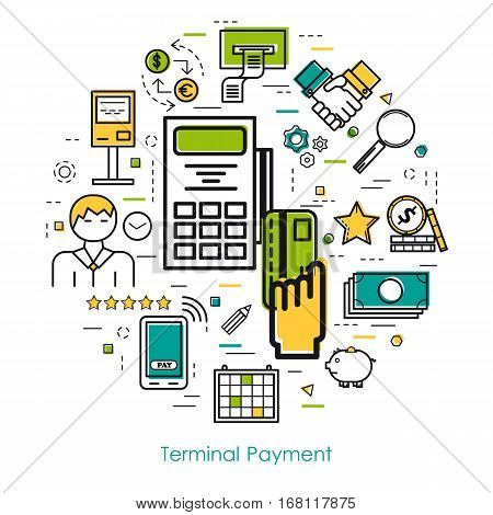 Vector thin line concept of Terminal Payment on white isolated background in modern art style. Green blue and yellow colors. Money and coin atm terminal and banking equipment