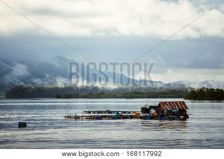 Fishing house on the water. Asia. Thailand