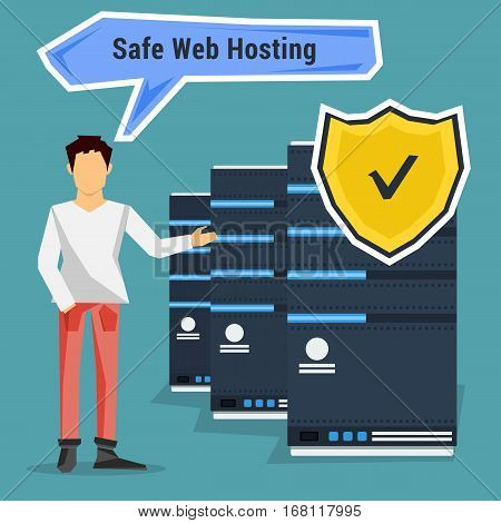 Man points to safe web hosting. Vector concept of secure data storage in flat style