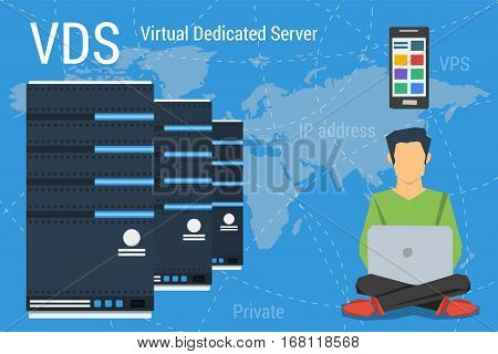 Vector concept Virtual Dedicated Server on blue background. Administrator with computer and different devices and web server in flat style