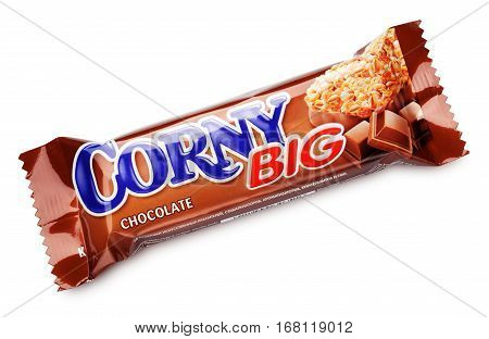 MOSCOW RUSSIA - FEBRUARY 1 2017: Corny big (Chocolate flavor) muesli bar isolated on white background. Flapjack cereal bar or granola bar with clipping path. Corny big are produced by Schwartauer Werke (Hero group).