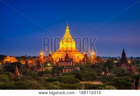 Dhammayazika Pagoda at night Bagan (Pagan) Myanmar