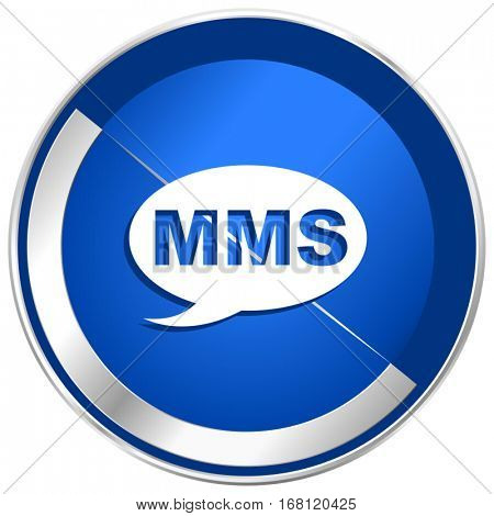Mms silver metallic web and mobile phone vector icon in eps 10.