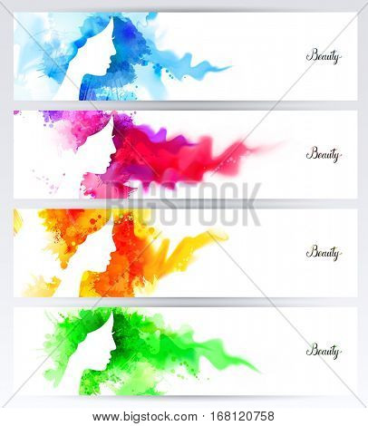 Beautiful abstract woman face silhouettes are on the abstract colorful watercolor backgrounds. Set of four color banners.