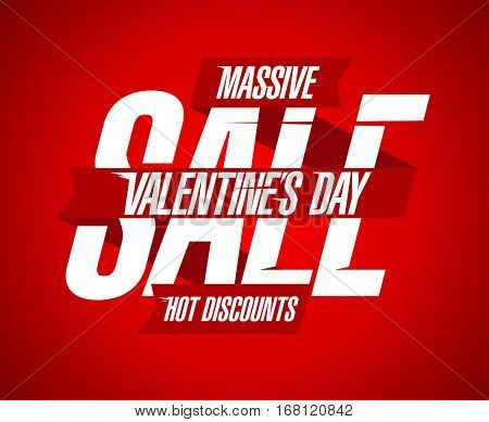 Valentine`s day sale, hot discounts, red and white design with ribbons