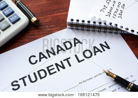 Canada student loan form on a table.
