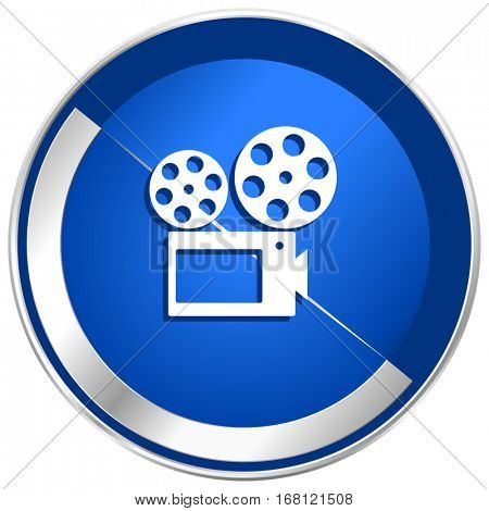 Movie silver metallic web and mobile phone vector icon in eps 10.