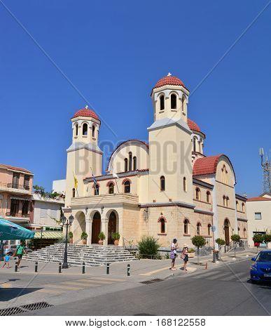 RETHYMNO GREECE - 08.08.2016: Martyr church landmark architecture