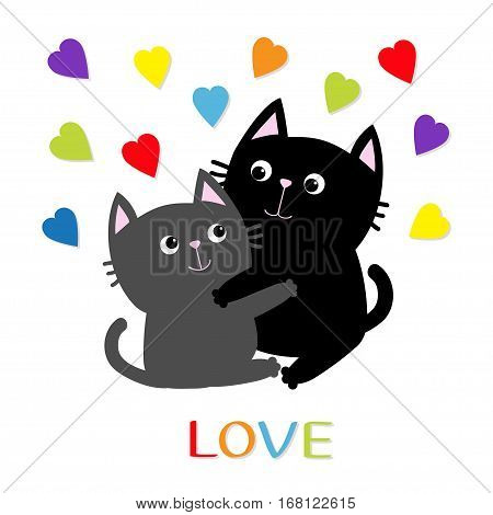 Black Gray Cat hugging couple family. Rainbow color hearts Hug embrace cuddle. Love Greeting card. Cute funny cartoon character. Kitty Whisker Baby pet White background. Isolated. Flat design Vector
