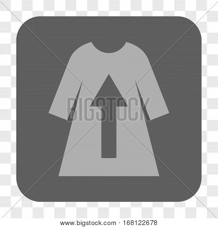 Take Off Female Dress interface toolbar button. Vector icon style is a flat symbol inside a rounded square button light gray and gray colors chess transparent background.