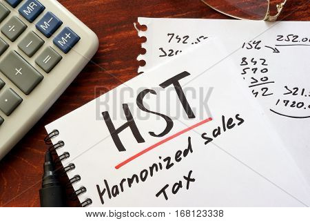 The harmonized sales tax (HST) written in a note.