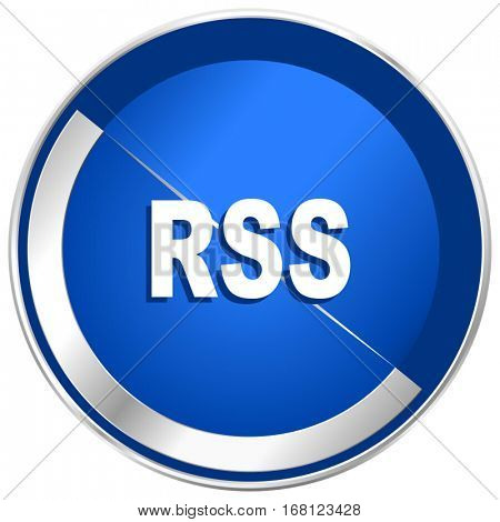 Rss silver metallic web and mobile phone vector icon in eps 10.