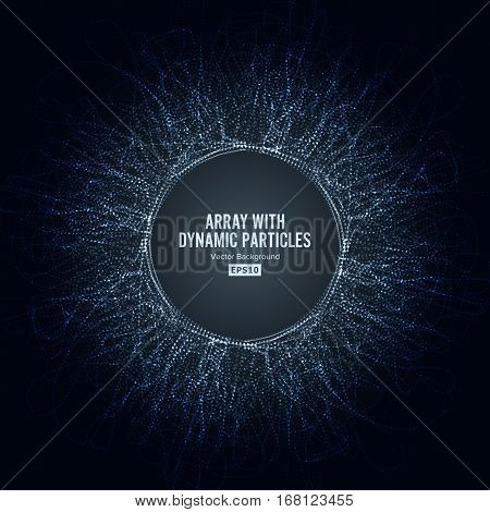 Array Vector With Dynamic Particles. Big Data Complex. Graphic Abstract Background With Lighting Effect