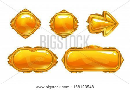 Vector golden game assets set. Gold buttons, arrow, banners, panels for GUI design. Isolated on white