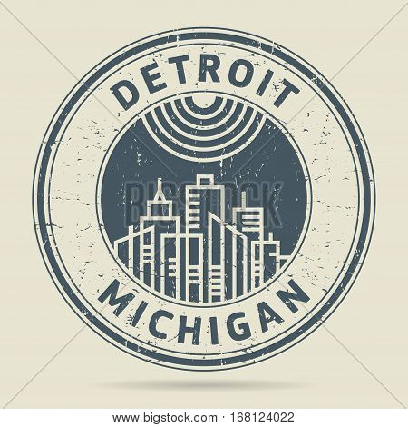Grunge rubber stamp or label with text Detroit Michigan written inside vector illustration