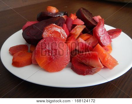 Red Beet And Vegetable Salad