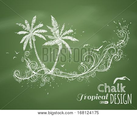 Chalk Tropical Illustration.