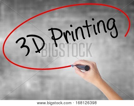 Woman Hand Writing 3D Printing With Black Marker Over Transparent Board.
