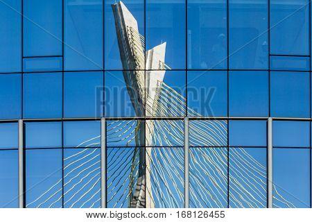 Estaiada Bridge mirror in Sao Paulo, Brazil