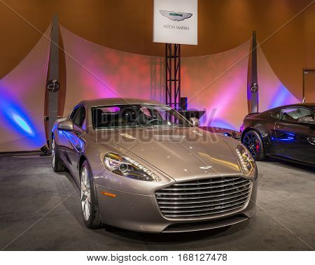 DETROIT MI/USA - JANUARY 11 2015: Aston Martin Rapide S at The Gallery an event sponsored by the North American International Auto Show (NAIAS) and the MGM Grand Detroit.