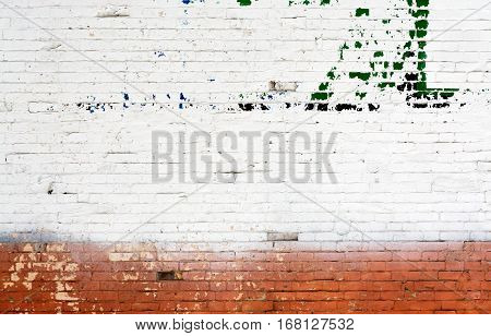 White Brick Wall Texture Background. White Red urban Wallpaper. Graffiti grunge Brickwal.
