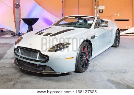DETROIT MI/USA - JANUARY 11 2015: Aston Martin Vantage V 12 S Convertible at The Gallery an event sponsored by the North American International Auto Show (NAIAS) and the MGM Grand Detroit.