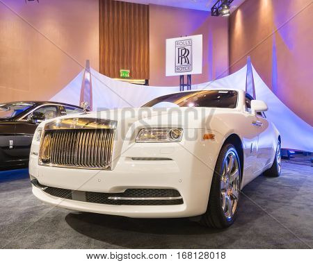 DETROIT MI/USA - JANUARY 11 2015: Rolls-Royce Wraith at The Gallery an event sponsored by the North American International Auto Show (NAIAS) and the MGM Grand Detroit.