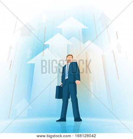 Businessman standing and looking up on rising arrows background. Vector illustration. Elements are layered separately in vector file.