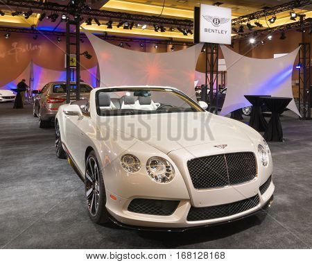 DETROIT MI/USA - JANUARY 11 2015: Bentley Continental V8 S Convertible at The Gallery an event sponsored by the North American International Auto Show (NAIAS) and the MGM Grand Detroit.