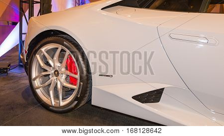 DETROIT MI/USA - JANUARY 11 2015: Lamborghini Huracan at The Gallery an event sponsored by the North American International Auto Show (NAIAS) and the MGM Grand Detroit.