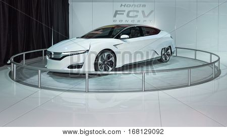 DETROIT MI/USA - JANUARY 12 2015: Honda FCV Concept at the North American International Auto Show (NAIAS) one of the most influential car shows in the world each year.